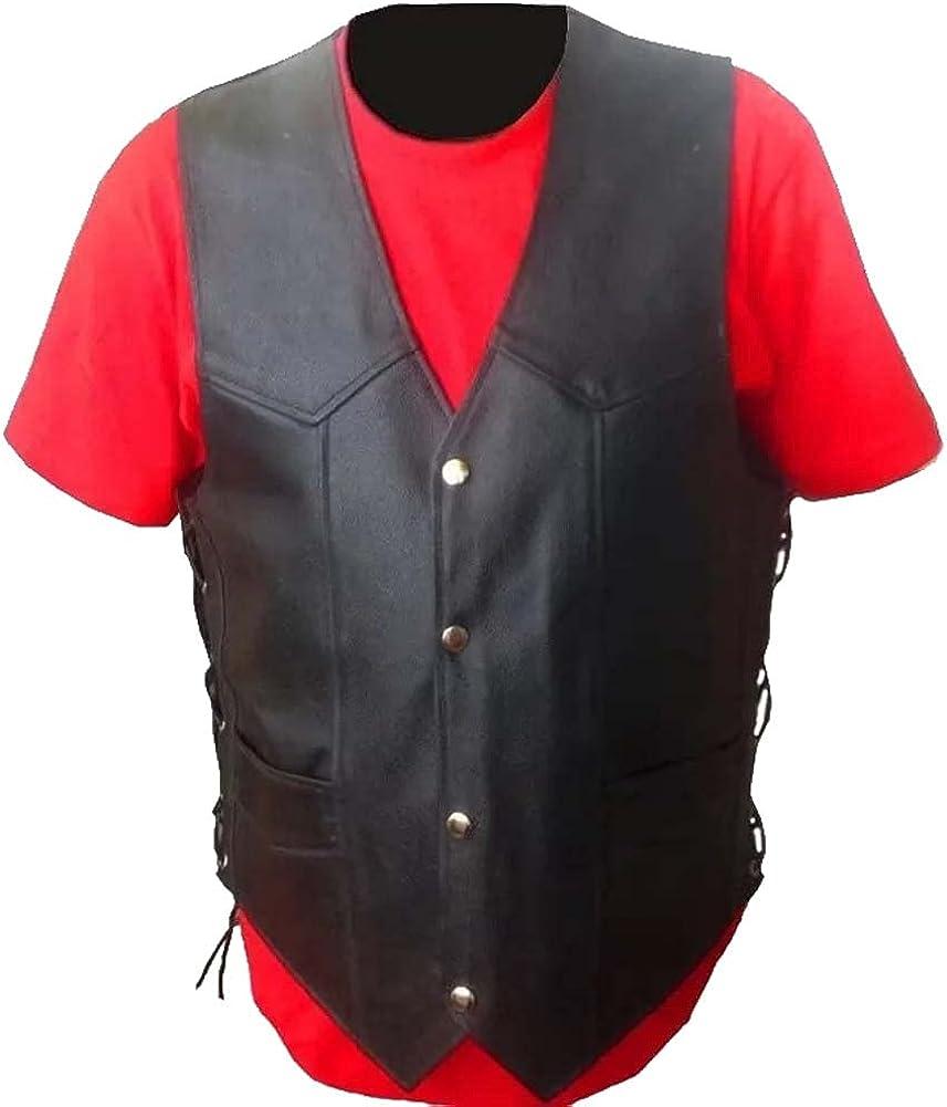 Classics Side Laced Up Black Genuine Leather Biker Vest for Men