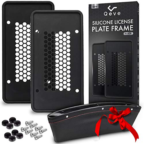 Silicone License Plate Frames, 2 Pack Durable Car Tag Holders with 8 Screws & Screw Covers, Won't Scratch, Rattle, Rust, or Break, Bonus Car Seat Filler by Qeve