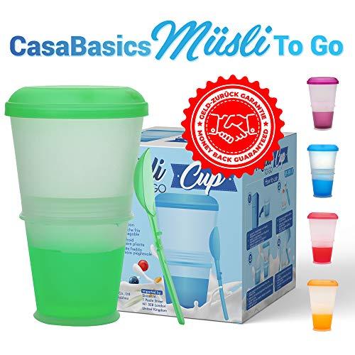 CasaBasics Müsli to Go Becher mit Milch-Kühlfach & Löffel, Müslibecher, Joghurtbehälter, Thermobecher, Müslidose