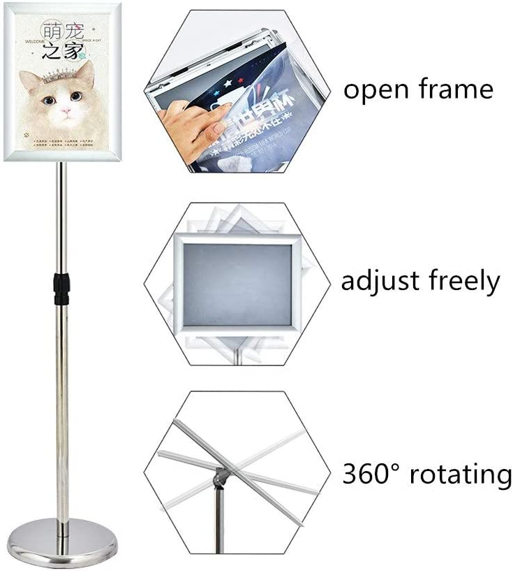 Color : Gold2, Size : A4 Floor Standing Display Holder Stainless Steel Poster Advertisement Holder Standing Sign Rack Vertical Guide Billboard Display Stand A2 A3 A4 Display Rack Message Boards