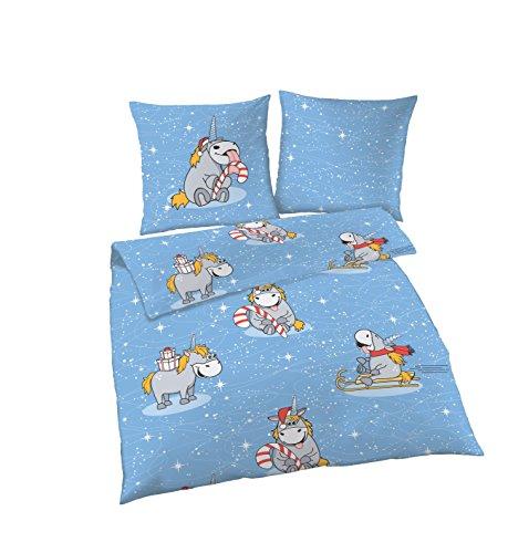 Ido Parure de lit en flanelle 100 % coton, parure de lit 135 x 200 cm, taie d'oreiller 80 x 80 cm, licorne bleue