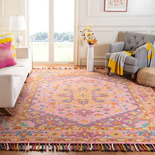 Safavieh Aspen Collection APN226A Handmade Boho Braided Tassel Wool Area Rug, 8' x 10', Pink / Violet