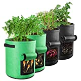 ONEBOM 7 Gallon Grow Bags 4 Pack , with Garden Gloves , Planting Growing Bags Container forPotao Tomato Garlic (2 Green + 2 Black)