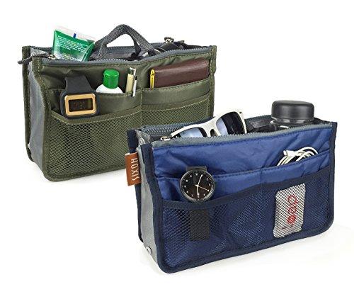 Hoxis Nylon Purse Organizzata 13 tasche Comestic Gadget-Organizzatore espandibile, con manici 26,92 cm X (10,6 16,00 (6,3 Bag in Bag cm, Marrone (Pack of 2(Green&Blue))