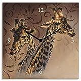 Artland Wanduhr ohne Tickgeräusche Leinwand Quarzuhr 30x30 cm Quadratisch Lautlos Afrika Giraffe Tiere Safari Natur Bildmalerei T4DP