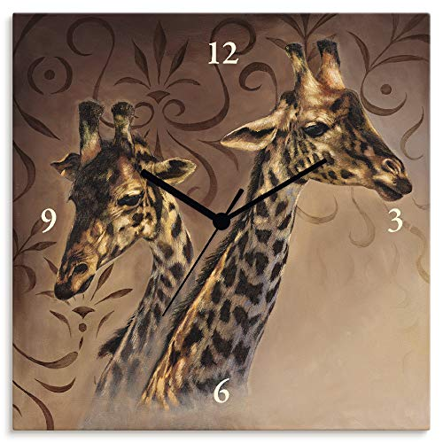 Artland Wanduhr ohne Tickgeräusche Leinwanduhr Quarzuhr lautlos Quadratisch 30x30 cm Design Afrika Tiere Giraffe Abstrakt Braun T4DP