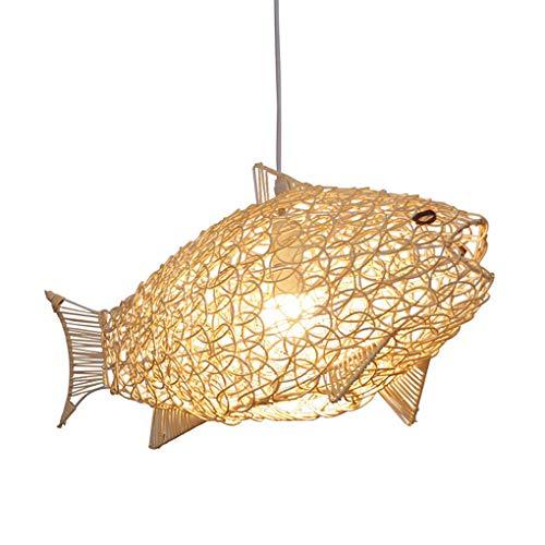 Rotan hanglamp, creatief rotan vislampenkap, handgeweven holle hanglamp, Scandinavische stijl kroonluchter, natuurlijk bamboe lamp voor eettafel, eetkamer, woonkamer E27 lamp