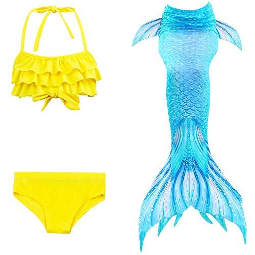 Le SSara 2018 Neue Sea-Maid Cosplay Bademode Meerjungfrau Shell Badeanzug 3 Stücke Bikini Sets (150, DH53+WJF47)
