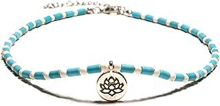 Cusmyre Boho Blue Bead Choker Necklace Turquoise Color Bead Turquoise Choker Necklace Handmade Beaded Choker Necklace Lotu...