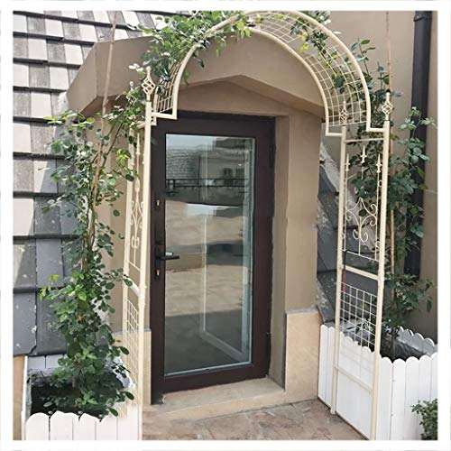 RuBao White/Black Garden Arch Flower Stand Climbing Vine Climbing Shelf, Courtyard Iron Flower Gate,Metal Garden Arch for Climbing Plants Ornament