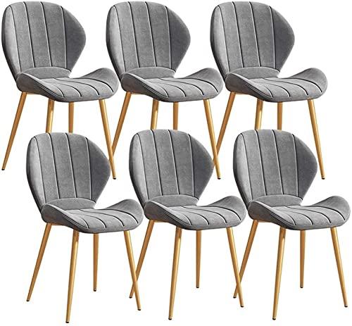 JFIA65A Juego de 6 sillas de cocina modernas de terciopelo, patas de metal, sillas de comedor con respaldo y asiento acolchado para oficina, salón, comedor, cocina, dormitorio, sillas (color: gris)