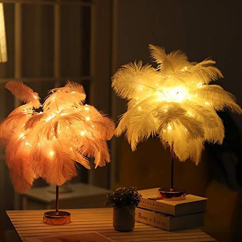 Tischlampe Nachtlampe Lüster Wandleuchte Boden Strauß-Feder-Tischlampe Laterne Eisen Nachtlicht-Tabellen-Schreibtisch-Licht-Fernbedienung Led Lampe Dandelion Kupferdraht, Tisch, Schreibtisch-Lampen-Li