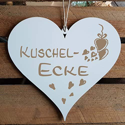 Bord hart « KUSCHELECKE » ca. 13 x 12 cm - met motief hart - deurbord decoratiebord geschenk - slaapkamer woonkamer