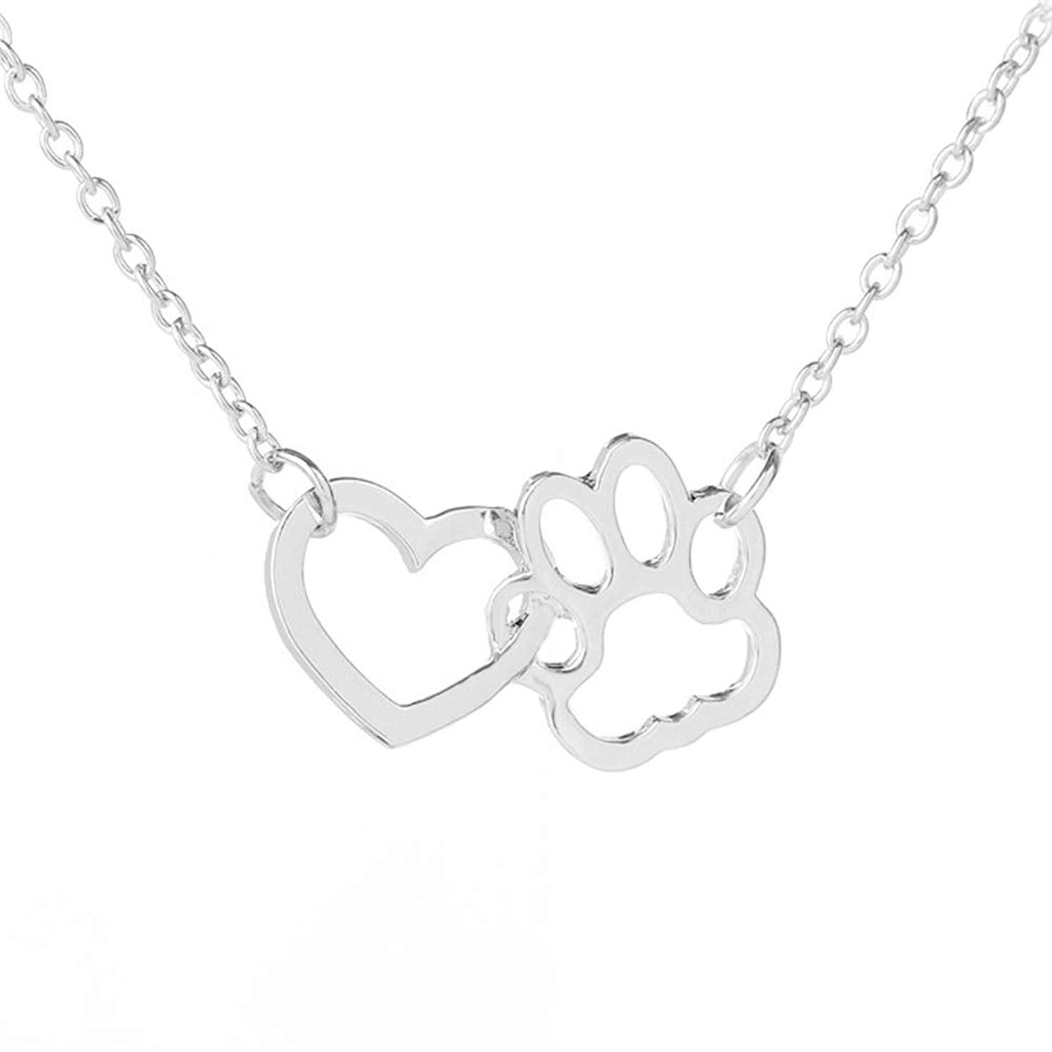 NC103 Cute Sliver Little Love Heart Dog Paw Charm Pendant Necklace