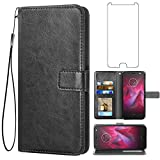 Asuwish Compatible with Moto Z2 Force Wallet Case Tempered Glass Screen Protector Flip Cover Card Holder Stand Accessories Phone Cases for Motorola MotoZ2Force Droid MotoZ2 Z2Force Z 2 2Z Black
