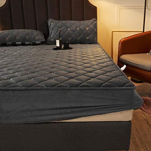 Bolsillo Profundo Elastic Sabana adjustable,Sábanas ajustadas acolchadas de terciopelo de cristal cálido y grueso,dormitorio hotel Homestay Protector de colchón de color puro Dark gray 90 * 200cm