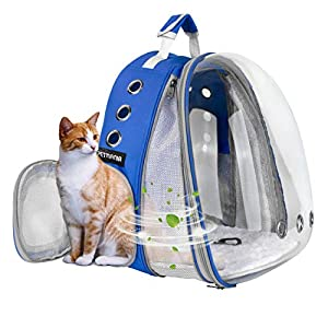 Petmania Pet Carrier Backpack [Blue Expandable Front] – Transparent Bubble Carrier, for Small Dogs/Puppies, Cats/Kittens, Hiking, Traveling, Airline Approved