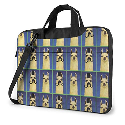 Llama with Mustache Laptop Sleeve Case 15.6 Inch Computer Tote Bag Shoulder Messenger Briefcase for Business Travel