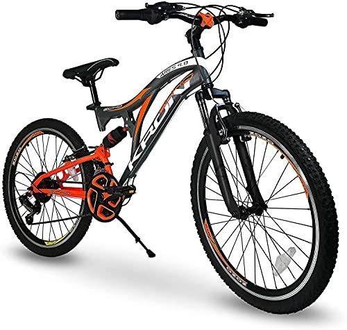 5.0 Bici Bicicletta MTB Ares 26'' Pollici BIAMMORTIZZATA 21 Velocita' Shimano Mountain Bike REVO (Arancione)