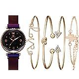 Reloj De Pulsera De Cuarzo para Mujer Reloj con Imán De Cielo Estrellado Juego De Regalo Impermeable Reloj En Caja + Pulsera púrpura