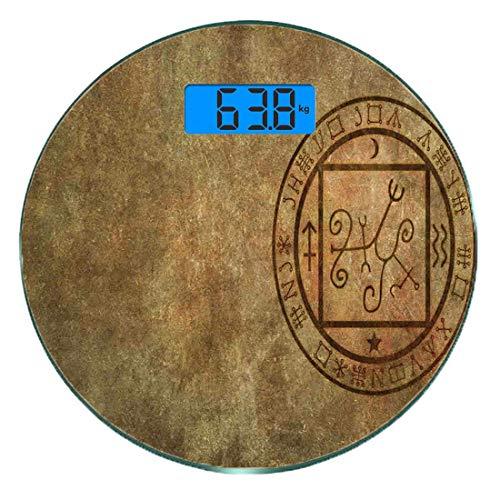 Escala digital de peso corporal de precisión Ronda Decoración oculta Báscula de baño de vidrio templado ultra delgado Mediciones de peso precisas,Icono de sello de sello oculto místico con textura ant