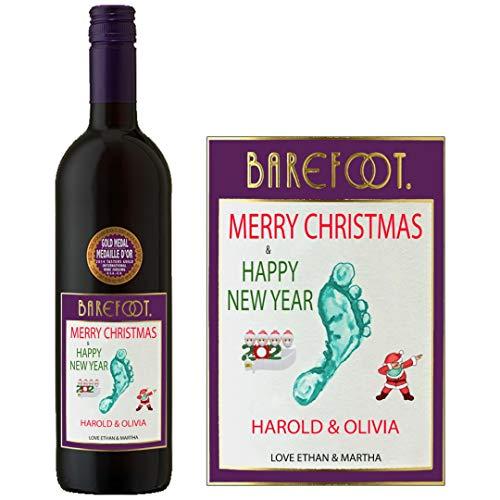 Personalisierbares Etikett für Rotwein (Barefoot Cabernet Sauvignon) zum Jahrestag BL248