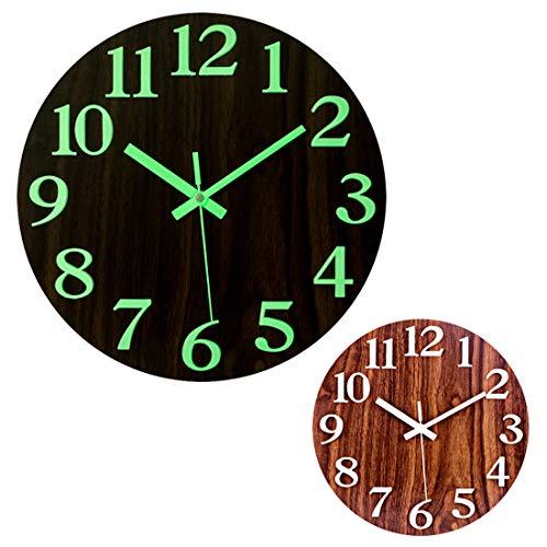 Foxom Reloj de pared luminoso de 12 pulgadas de madera moderna silenciosa sin garrapatas con número 3D de pantalla con brillo silencioso en la oscuridad