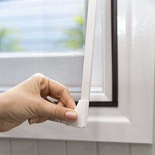NeatiEase DIY Insektenschutz Magnetfenster, Max 150 x 180 CM, Weiß Magnet Rahmen für Fliegengitter Fenster Mückengitter, waschbares, Schwarz Netz, kein Stanzen erforderlich Flammhemmend & wasserdicht