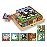Melissa & Doug Farm Wooden Cube Puzzle With Storage Tray - 6 Puzzles in 1 (16 pieces)
