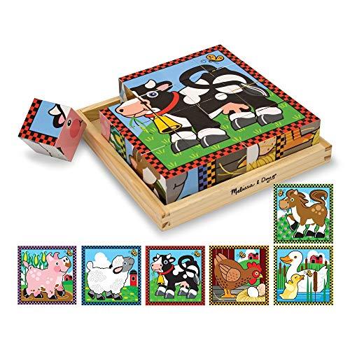 Melissa & Doug- Farm Cube Puzzle Rompecabezas de Cubo de 16 Piezas de Madera, Multicolor (775) , color/modelo surtido