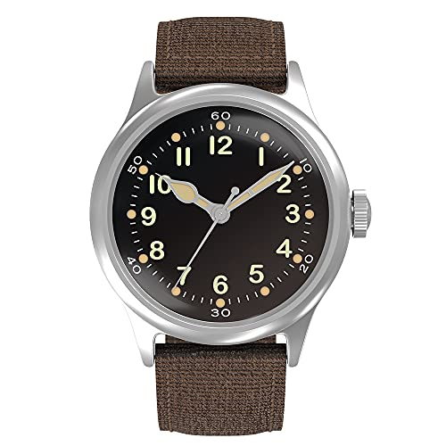 Praesidus Tom Rice's Lost Watch of D-Day - Mens Automatic Self-Winding Mechanical Wrist Watch - Type A11 Veteran Paratrooper Watch - Brown Nylon Strap with Brushed Steel Case (Tom Rice A-11 (42mm)