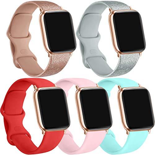 [5 Pack] Silicone Bands Compatible for Apple Watch Bands 38mm 40mm, Sport Band Compatible for iWatch Series 6 5 4 3 SE(Light blue/Shine rosegold/Shine silver/Orange red/ Pink, 38mm/40mm-M/L)