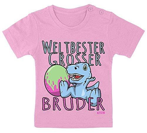 Hariz – Camiseta de bebé con el mejor hermano del mundo, con tarjeta de regalo Algodón de azúcar rosa. Talla:15-24 Monate / 80-92cm
