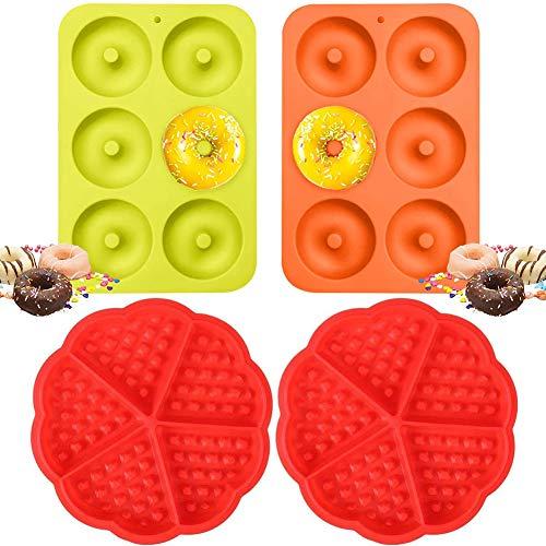 Molde para Donut de Silicona - WENTS 2PCS Silicona Donut Moldes y 2PCS Waffle Mold Silicona Cacerola Antiadherente Molde de Silicona Apto para Lavavajillas, Horno, Microondas, Congelador