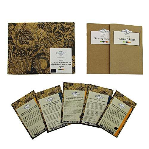 Wilde Vogelfutter-Blumenwiese (Bio) - Samen-Geschenkset mit 5 schönen Wildblumensorten, die im Winter Vogelfutter bereitstellen