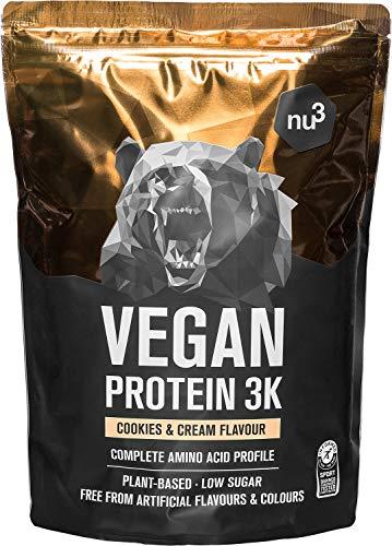 Batido de proteína vegana - Proteína vegetal 3K en polvo - de 3 componentes vegetales (guisante, girasol & arroz) - 1 Kg sabor cookies & cream - Para crecimiento y mantenimiento de masa muscular - nu3