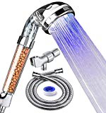 Product Image of the PRUGNA LED Shower Head with Hose and Shower Arm Bracket, High-Pressure Filter Handheld Shower for Repair Dry Skin and Hair Loss - Color Changes Cyclically