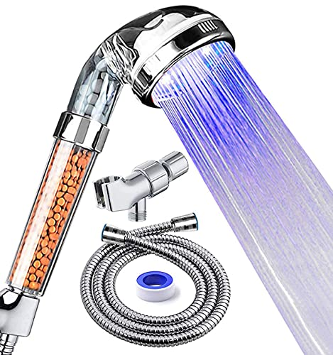 PRUGNA LED Shower Head with Hose and Shower Arm Bracket, High-Pressure Filter Handheld Shower for Repair Dry Skin and Hair Loss - Color Changes Cyclically