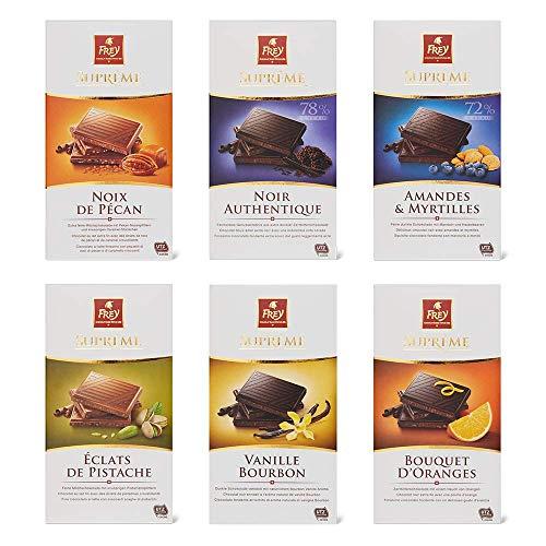 Frey 6x feinste Premium Schokoladentafeln - Supreme Mix - Schweizer Schokolade Tafel - Großpackung 6x 100 g - UTZ-zertifiziert - Schokoladengeschenkset