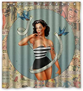 FUNNY KIDS' HOME Sexy Bathroom Art Shower Curtain Birds Around The Pretty Girl - Vintage Retro Pin Up Girls Body Art Work Canvas Painting Style Waterproof Polyester Fabric 66(w) x72(h) Rings Included