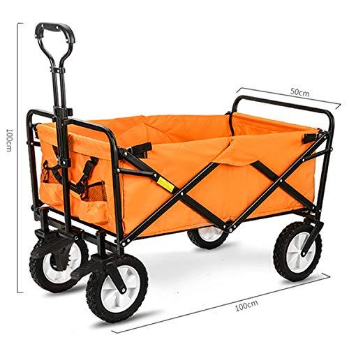 BSWL Chariot De Pliage Extérieur, Grande Capacité, Achats De Supermarché, Le Camping Plage, Pêche Récréative, Le Jardinage De Jardin, Chariot Pratique,Orange