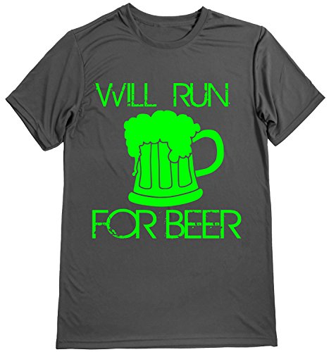 Performance Dry Sports Shirt – Men Runner's T-Shirts - Running Quotes -Will Run for Beer Gray-Lime