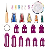 GORGECRAFT Bias Tape Maker Set Jelly Roll Sasher Tool Multi-Sizes Folding Fabric and Biasing Strips with Quilting Pins Clips for Sewing Quilting