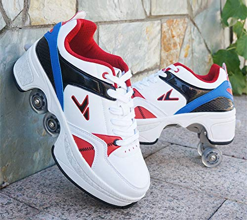 gyl New Dual-Purpose Roller Skates, Deformed Shoes, Double-Row Heely Roller Skates, Vibrato Net Red Four-Wheeled Heely Shoes,42