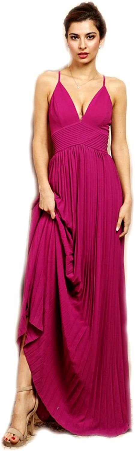 Crazy4Bling Fushia Hot Spaghetti Strap Maxi Dress with Pleat Bodice Detail, Medium