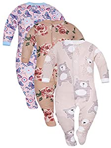 Sibinulo Niño Niña Peleles Mamelucos, Pijama Tamaños 0 Meses a 3 Meses, Pack de 3 Galleta Rosas, Osos Beige, Prado Rosa 62