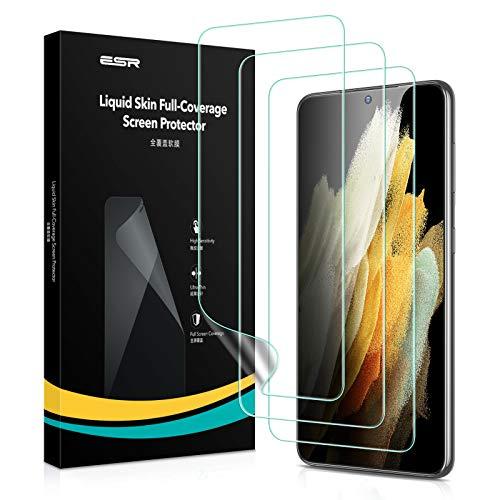 ESR Liquid Skin Display Schutzfolie kompatibel mit Samsung Galaxy S21 (6,2 Zoll) 3 Stück Komplettschutz Polymer unterstützt Fingerabdruck Sensor
