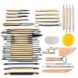 Arts Crafts 42Pcs Clay Sculpting Tools Pottery Carving Tool Set Pottery &amp Ceramics Wooden Handle Modeling...