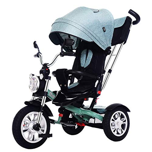 Check Out This Nightcore Baby Tricycle, 4-in-1 Steer Stroller, Learning Bike W/Detachable Guardrail,...