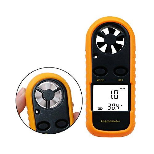 Jiusion Anemómetro digital de velocidad del viento LCD de mano Inalámbrico Medidor de mano Medidor de flujo de aire Medición de velocidad Termómetro Probador para windsurf Kite Volar Vela Surf Pesca